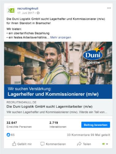 Social Media Recruiting - Referenzbild 1 - recruiting4null