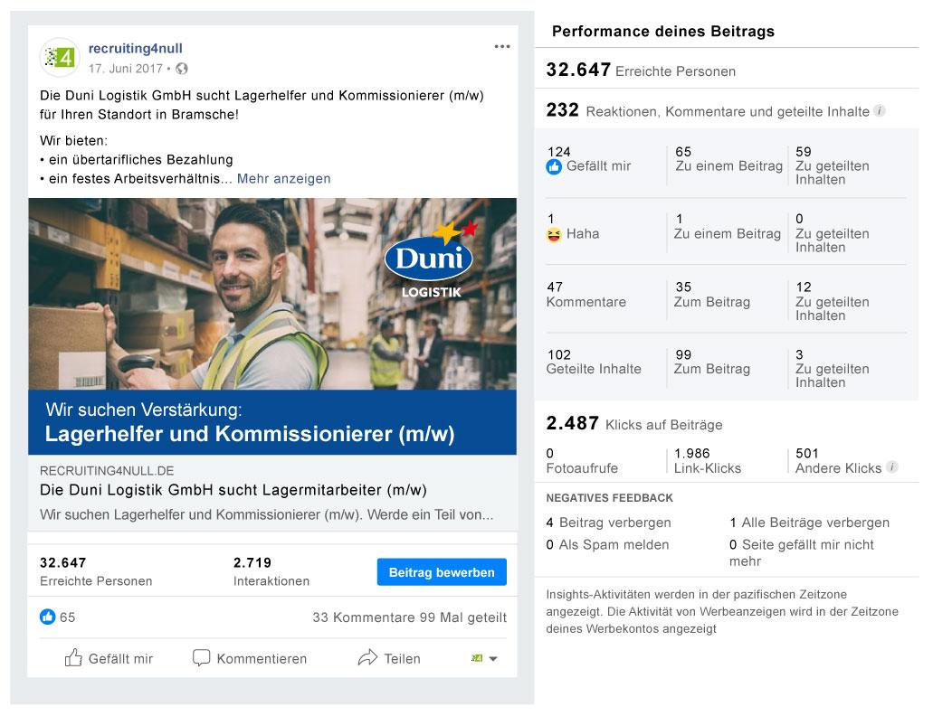 Facebook Referenzbild Kunde Duni Logistik - recruiting4null