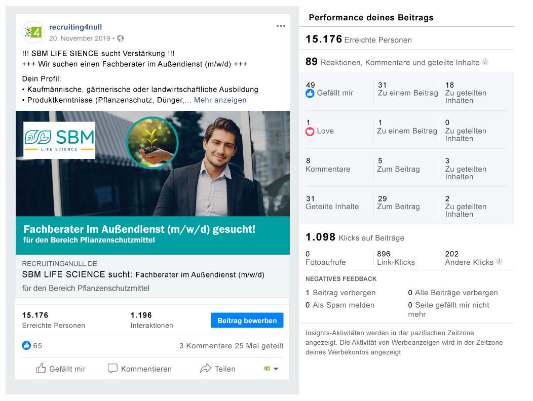Facebook Referenzbild Kunde SBM Life Science - recruiting4null
