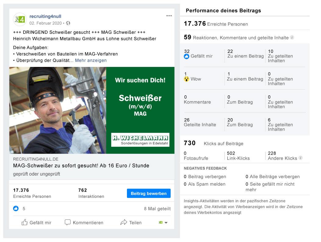 Facebook Referenzbild Kunde Wichelmann - recruiting4null