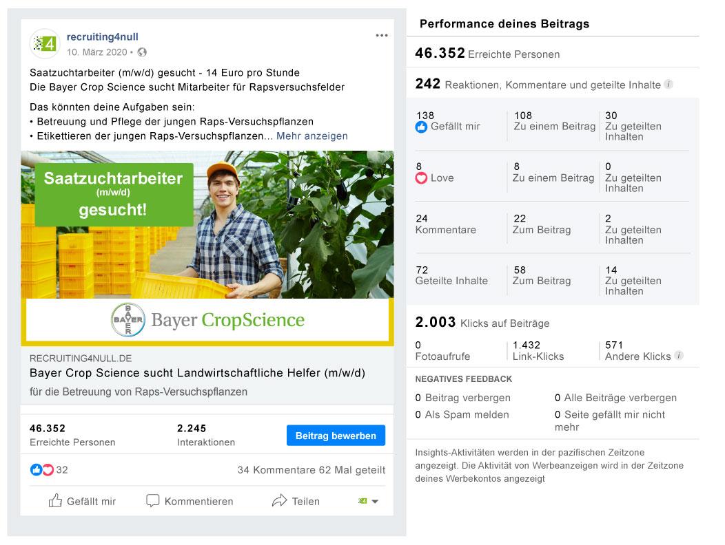 Facebook Referenzbild Kunde Bayer CropScience - recruiting4null