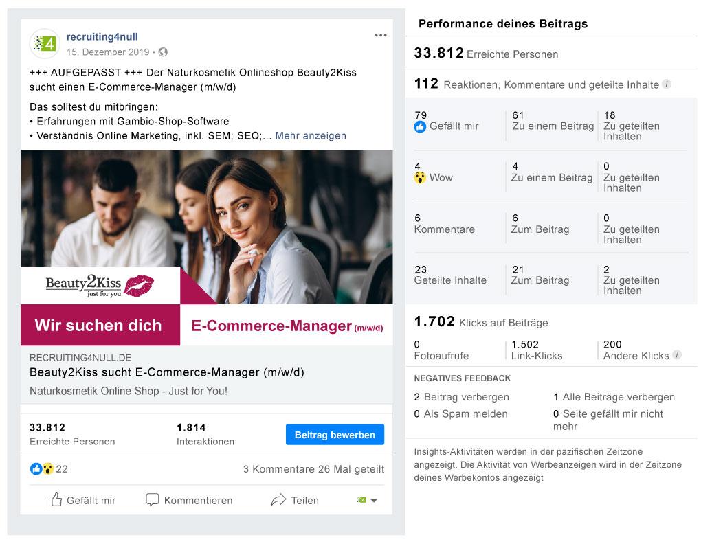 Facebook Referenzbild Kunde Beauty2Kiss - recruiting4null